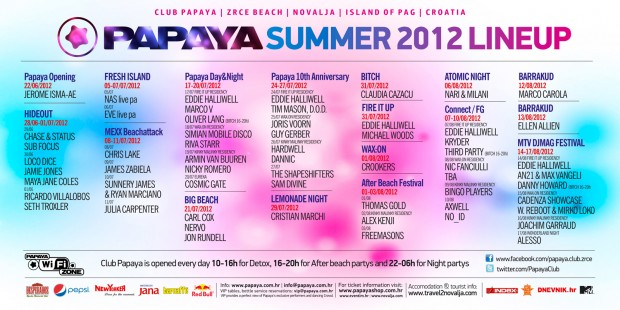 Papaya 2012 all lineup
