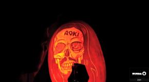Watch Maniac Pumpkin Carvers carve Steve Aoki and deadmau5 into pumpkins!