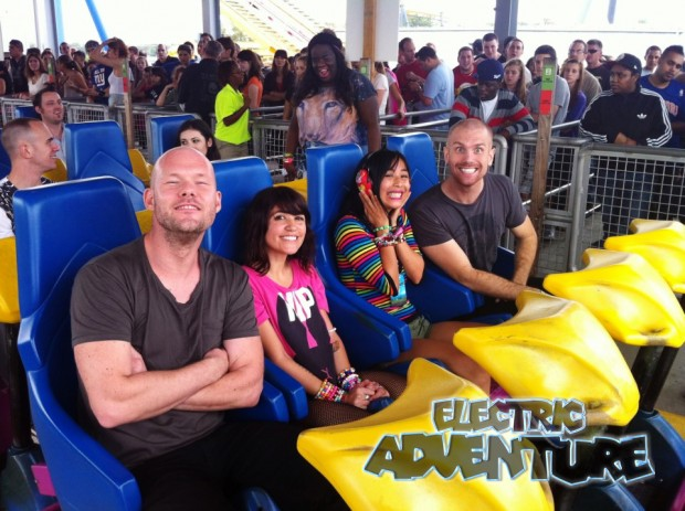 "(2012 Electric Adventure artist Dada Life about to ride the ""Kingda Ka"" with their fans)"